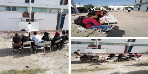 القيروان: أساتذة يضطرون إلى التدريس بساحة المعهد تحت أشعة الشمس..